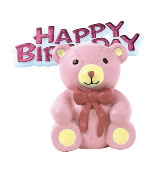 Pink Teddy Bear & Motto - Cake Topper